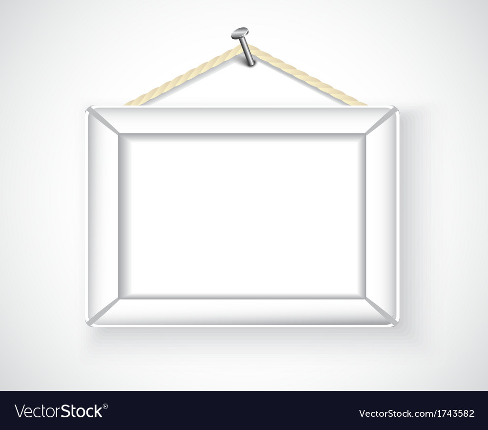 White picture frame hanging on the wall vector | Price: 1 Credit (USD $1)