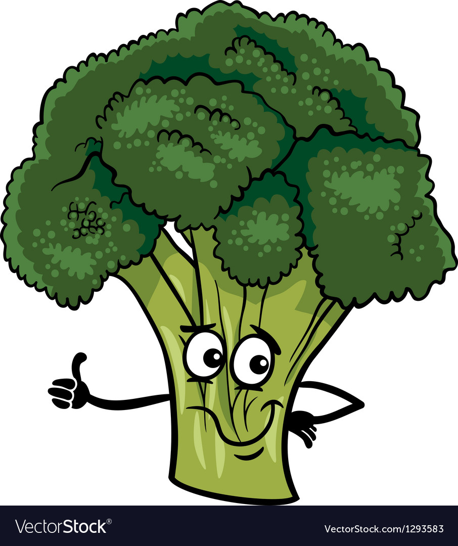 Funny broccoli vegetable cartoon vector | Price: 1 Credit (USD $1)