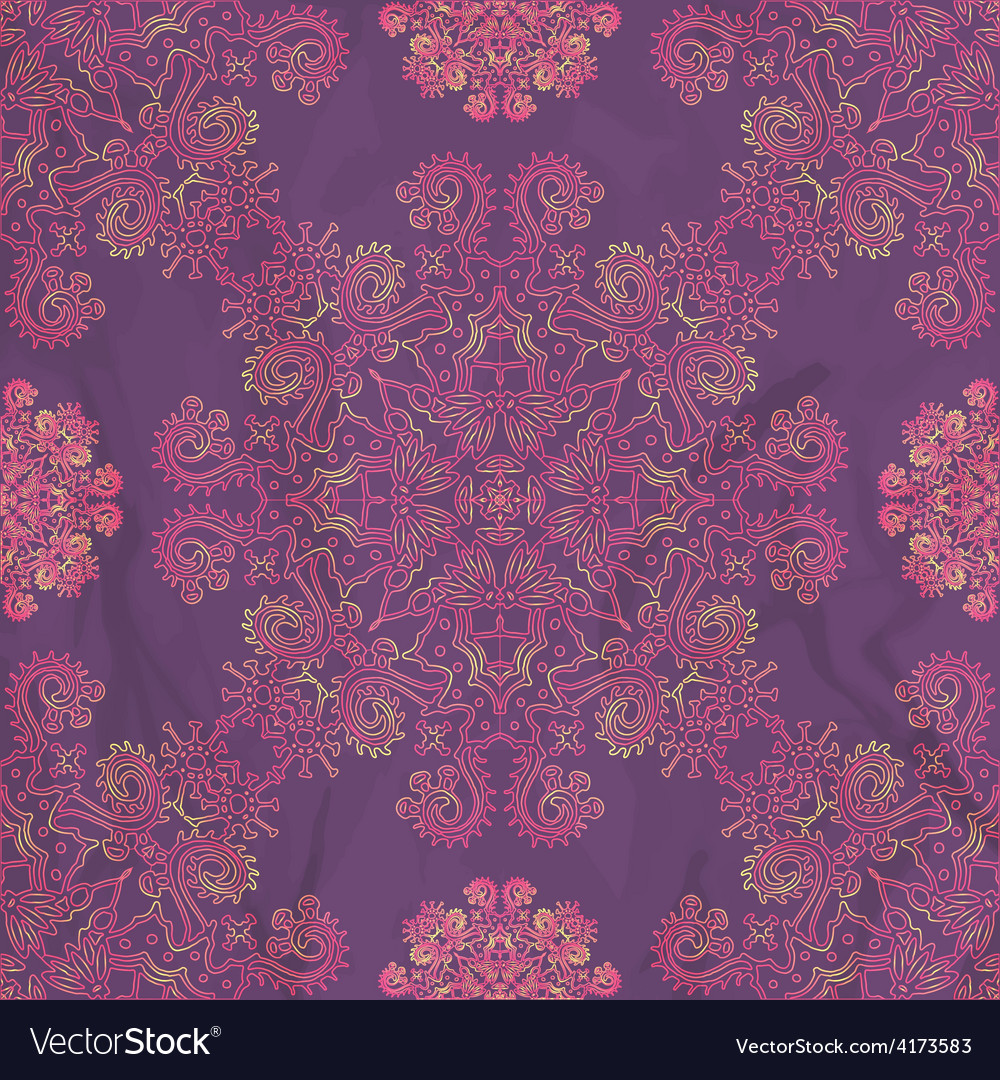 Ornamental seamless pattern on purple texture vector | Price: 1 Credit (USD $1)