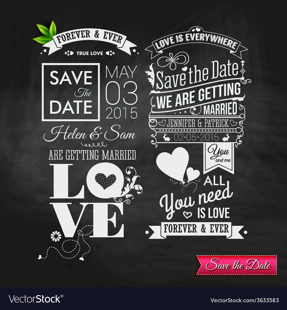 Save the date for personal holiday vintage vector   Price: 1 Credit (USD $1)