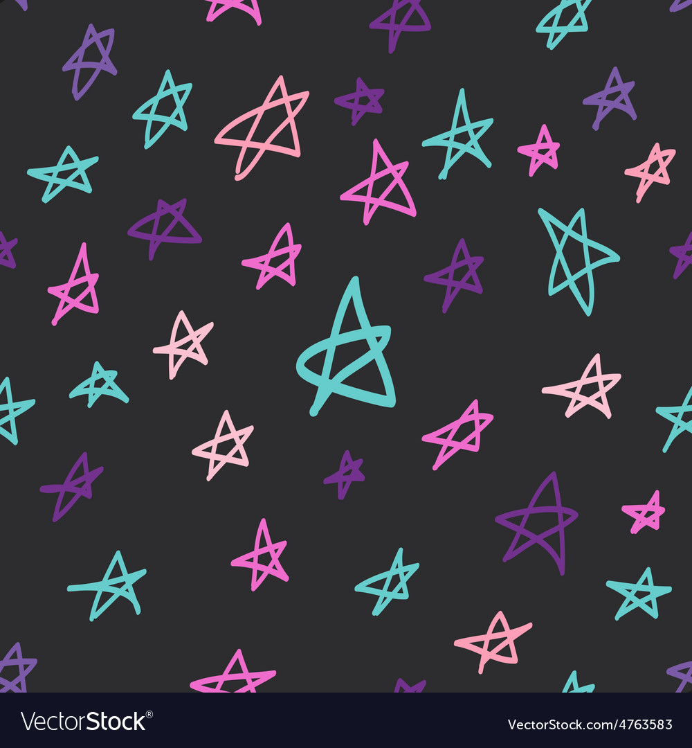 Seamless pattern with hand drawn stars vector | Price: 1 Credit (USD $1)