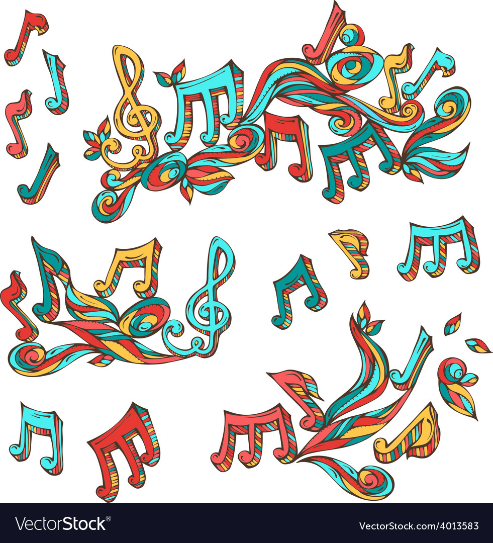 Set of bright retro music page decorations vector | Price: 1 Credit (USD $1)