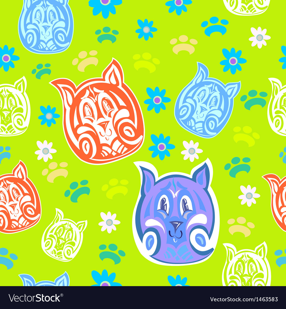 Tiger cub seamless pattern vector | Price: 1 Credit (USD $1)