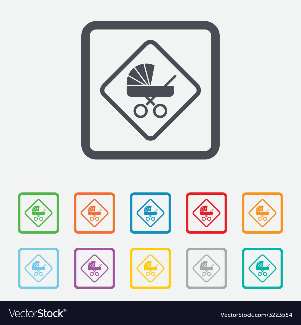 Baby on board sign icon infant caution symbol vector | Price: 1 Credit (USD $1)