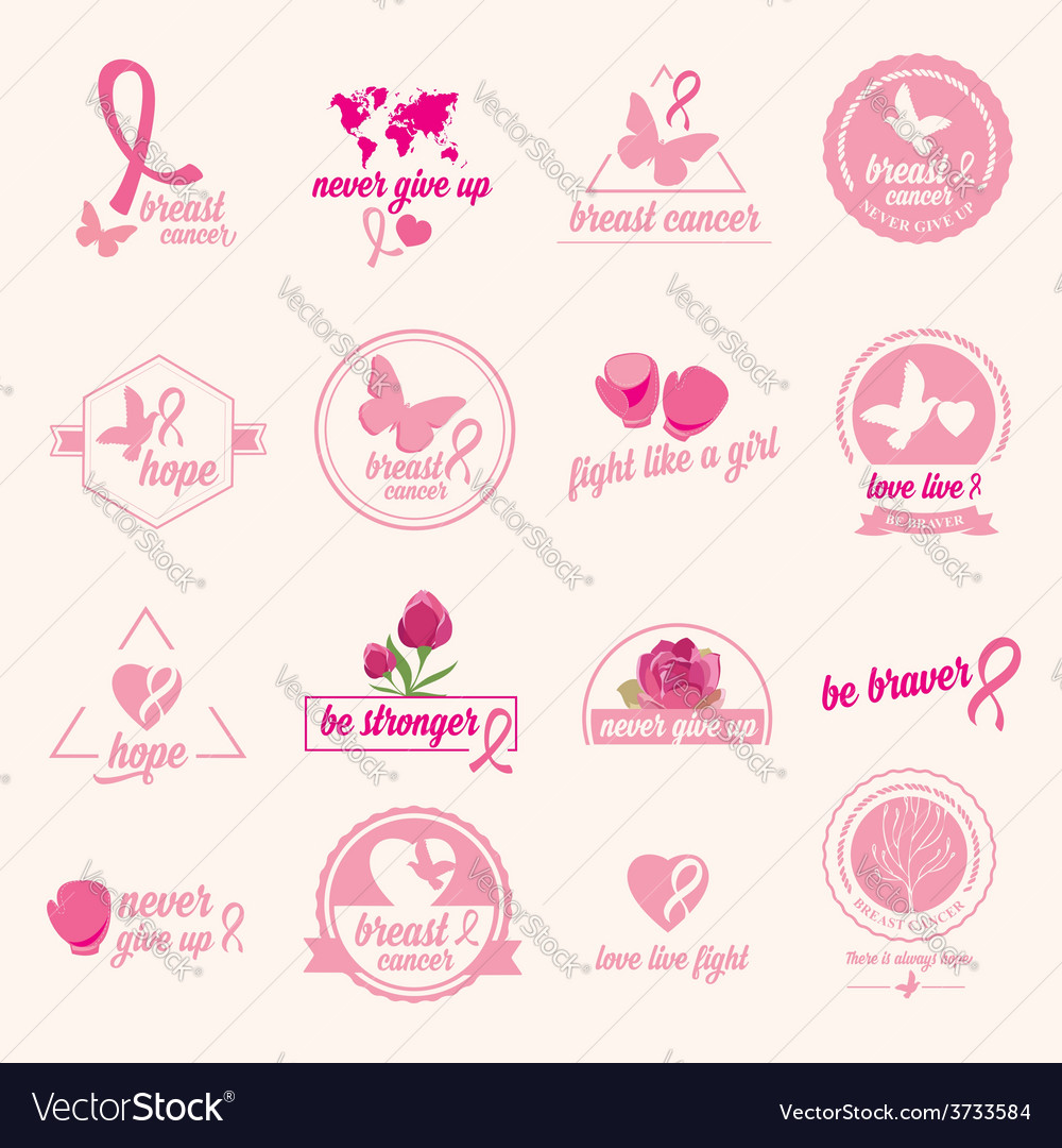 Breast cancer set of stickers pink ribbon icon vector | Price: 1 Credit (USD $1)