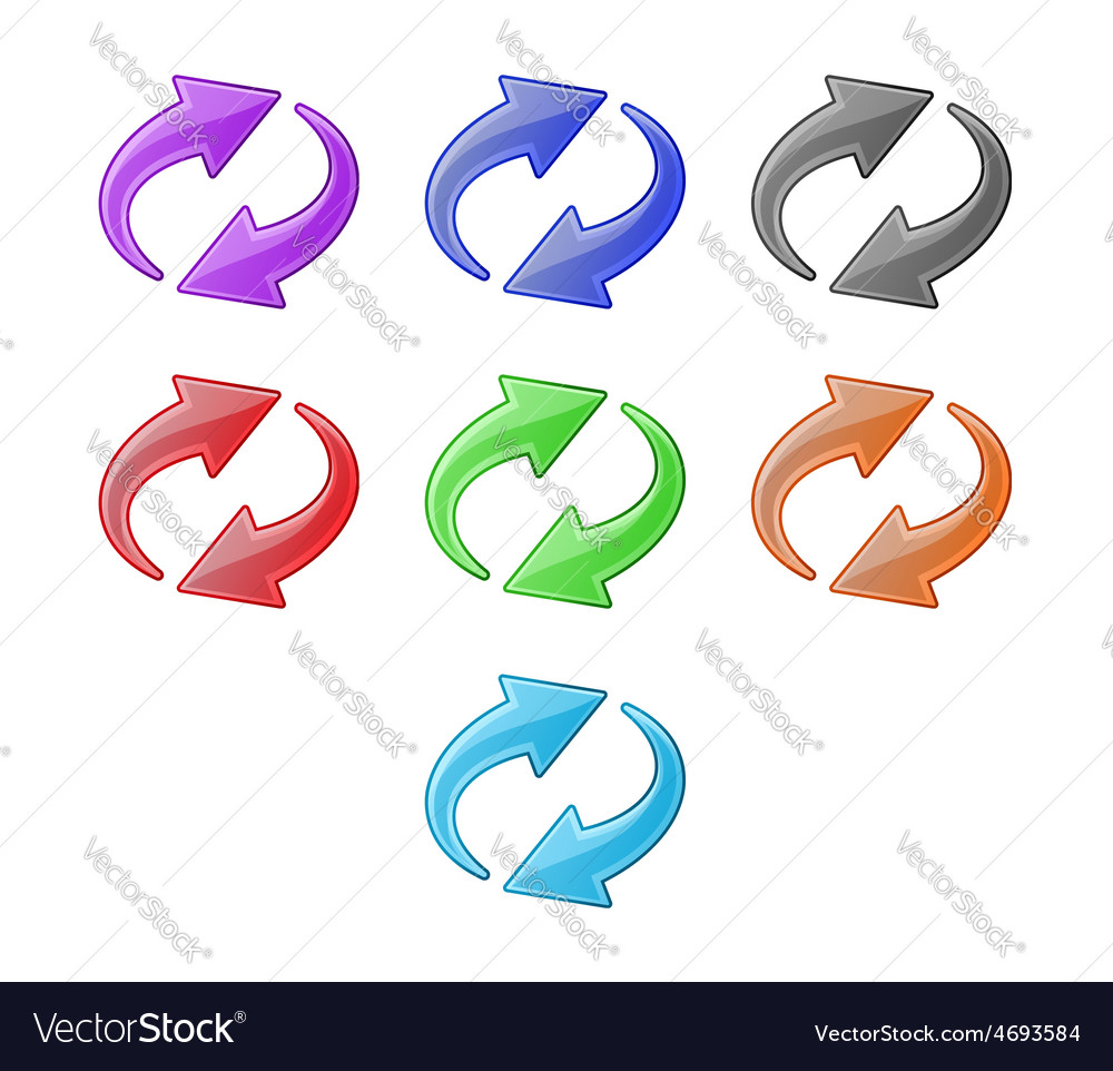 Colored recycling arrows set vector | Price: 1 Credit (USD $1)
