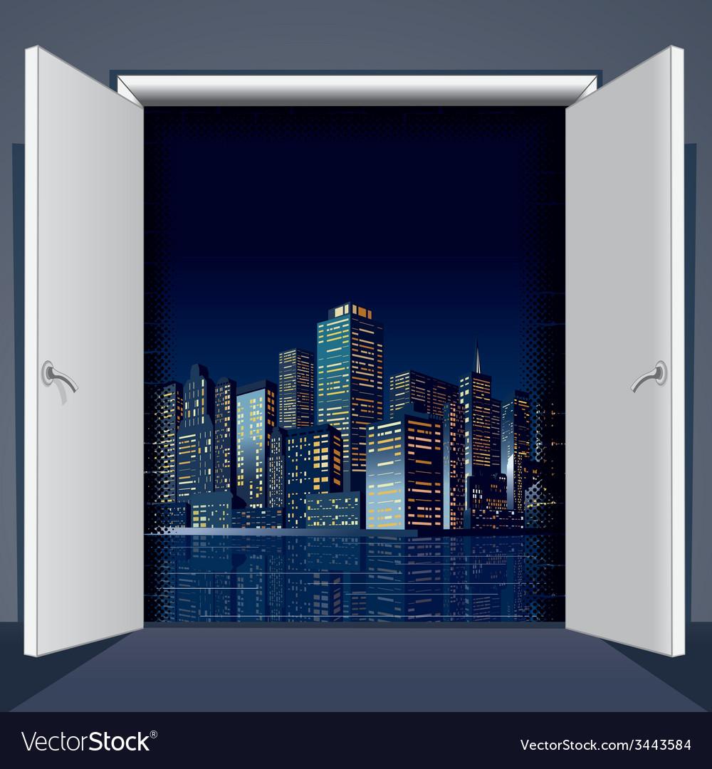 Door to city vector