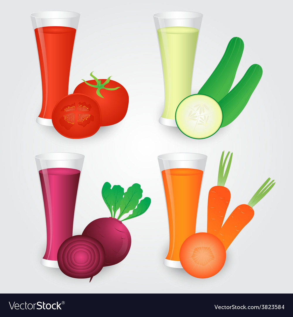 Glasses of veggies juice isolated on background vector | Price: 1 Credit (USD $1)