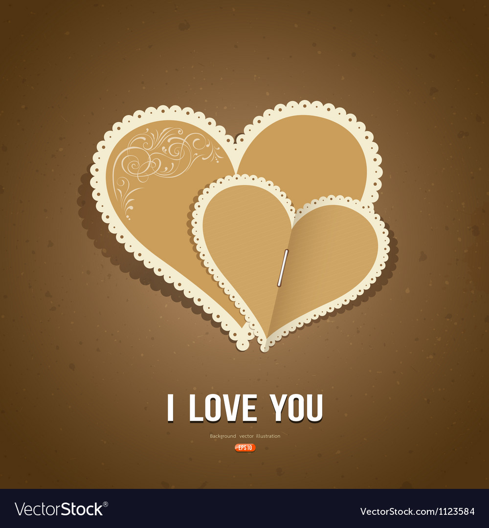 Happy valentine day paper classic vector | Price: 1 Credit (USD $1)