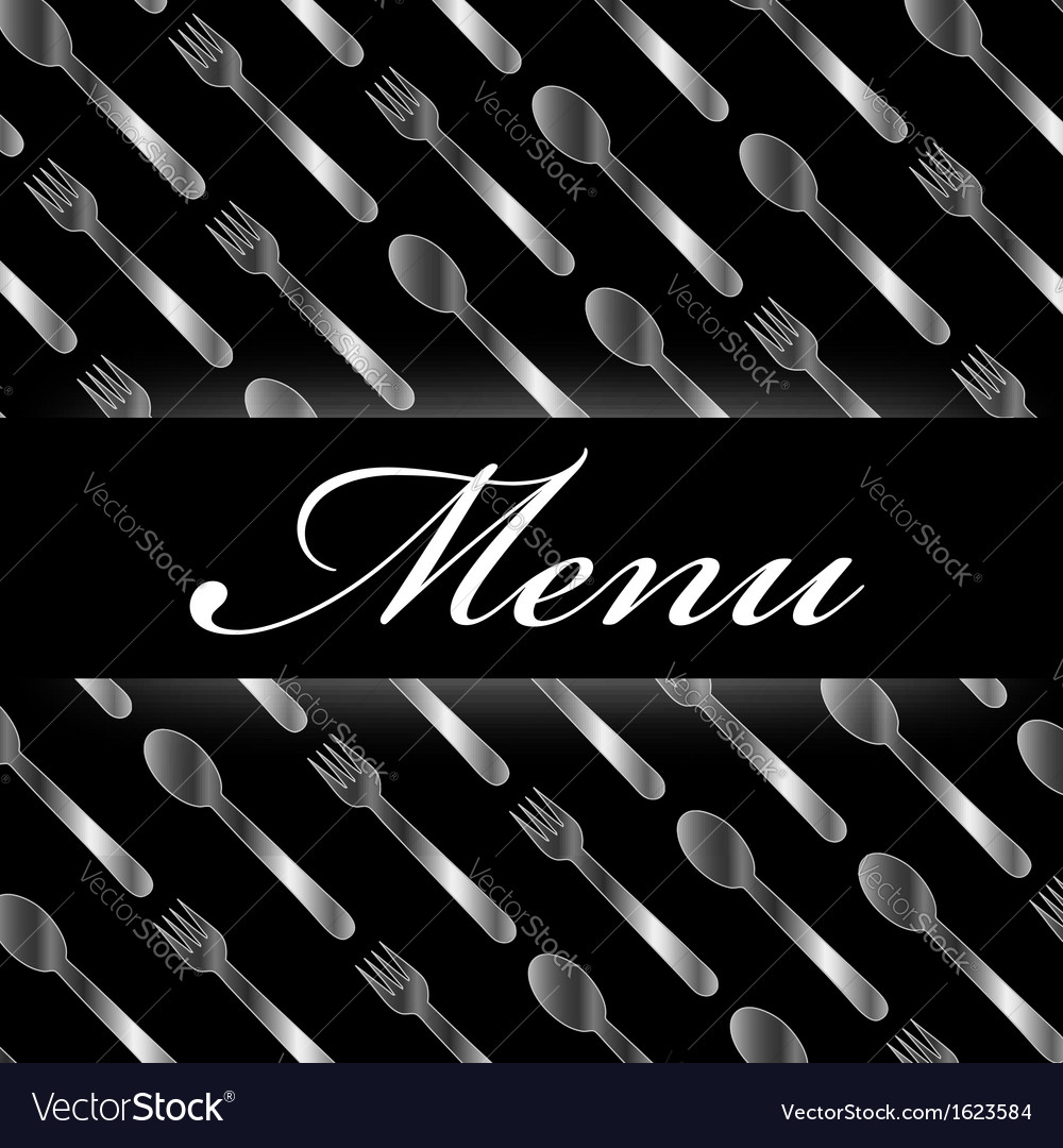 Restaurant menu with silver spoons and forks vector   Price: 1 Credit (USD $1)