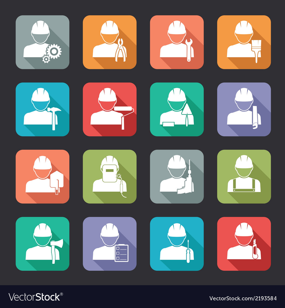 Set of construction worker flat style icons vector | Price: 1 Credit (USD $1)