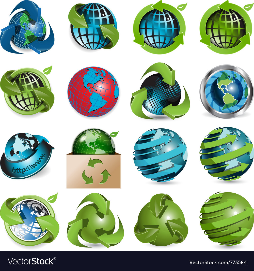 Sixteen icons of the globe on white background vector | Price: 3 Credit (USD $3)