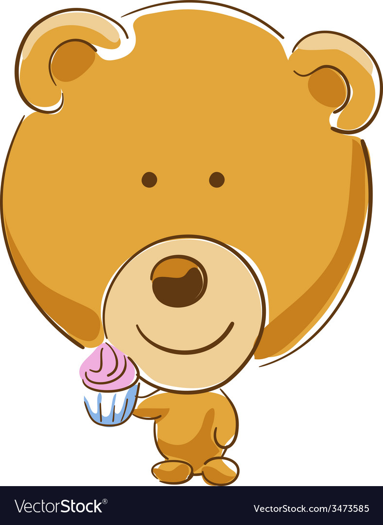 Bear with cupcake vector | Price: 1 Credit (USD $1)