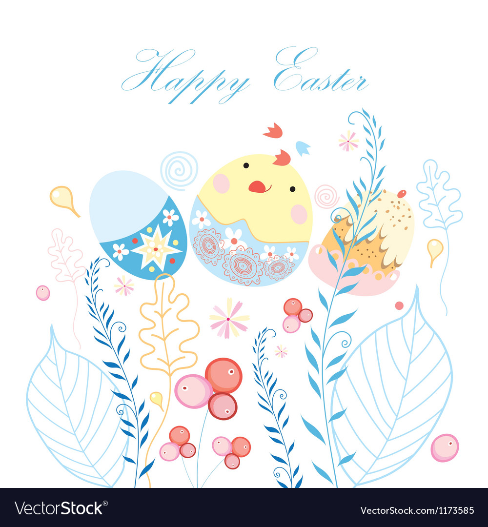 Easter postcard with chicken vector | Price: 1 Credit (USD $1)