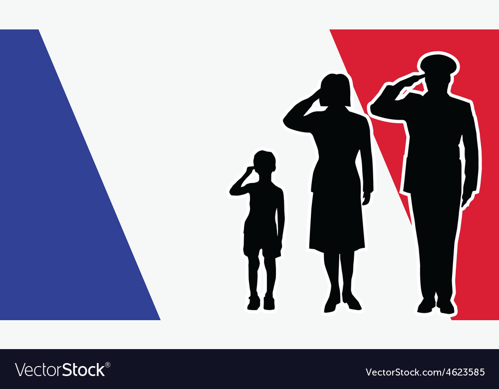 France soldier family salute vector | Price: 1 Credit (USD $1)