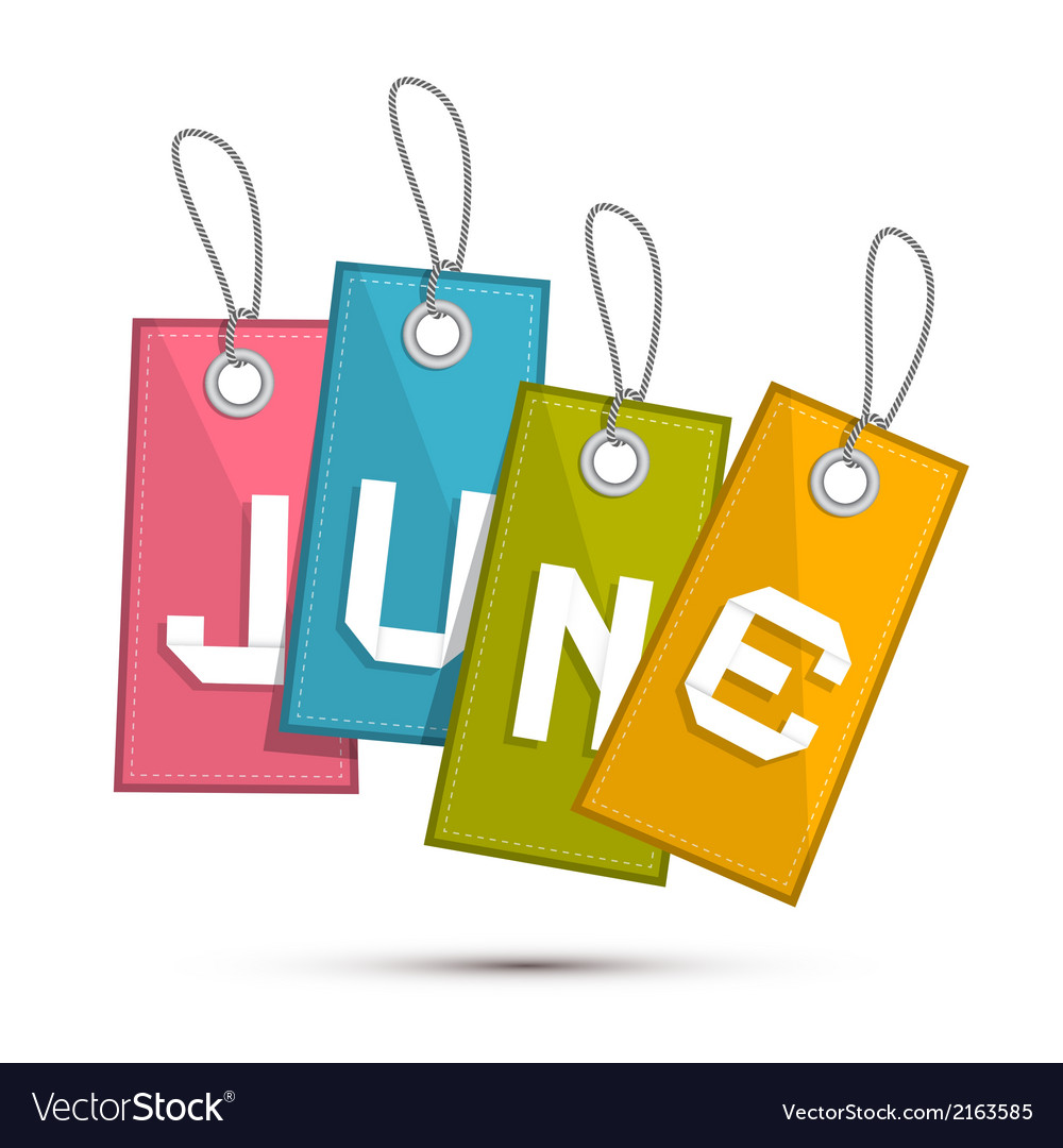 June retro discount sale paper label tag with vector   Price: 1 Credit (USD $1)
