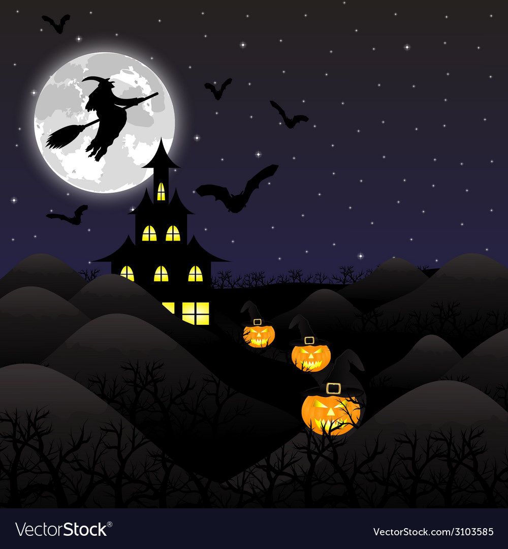 Night landscape on halloween vector | Price: 1 Credit (USD $1)