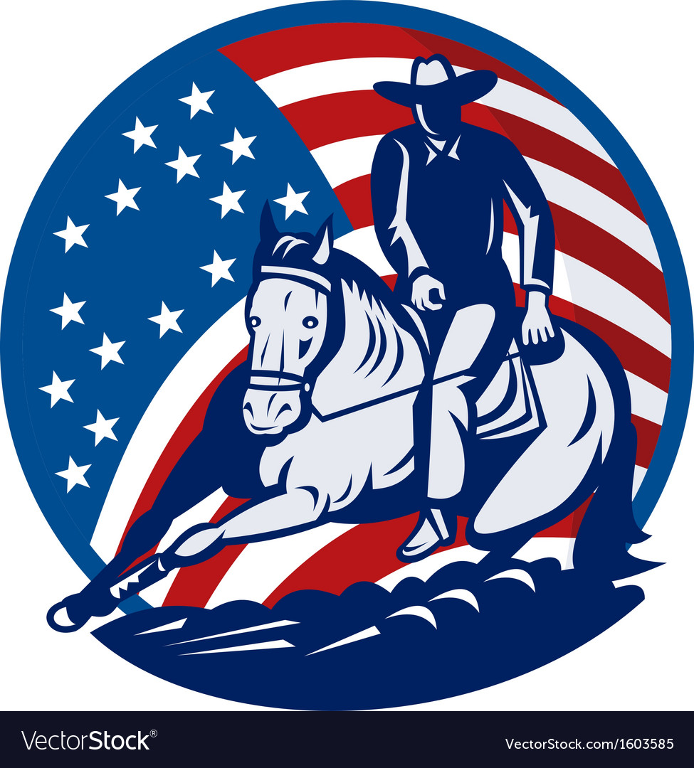 Rodeo cowboy horse cutting stars and stripes vector | Price: 1 Credit (USD $1)