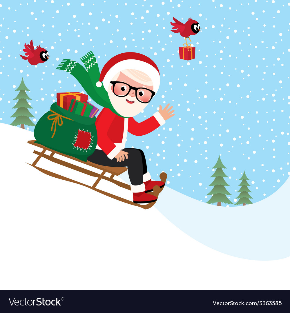 Santa claus with a bag of gifts on sledge vector | Price: 1 Credit (USD $1)