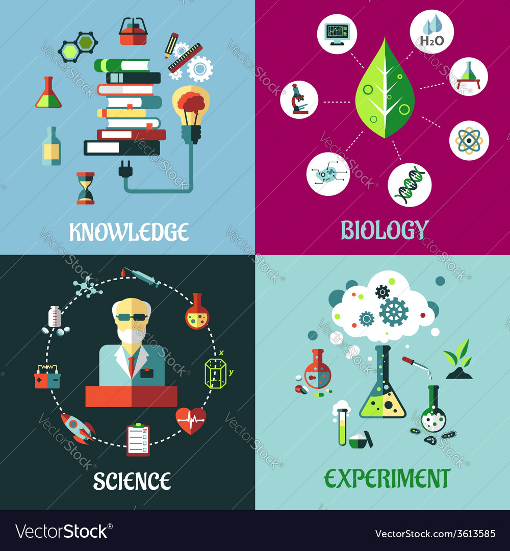 Science experiment and knowledge flat concepts vector | Price: 1 Credit (USD $1)