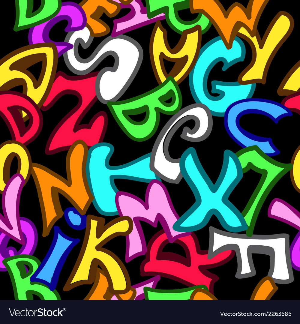Seamless pattern with letters in graffiti style vector | Price: 1 Credit (USD $1)