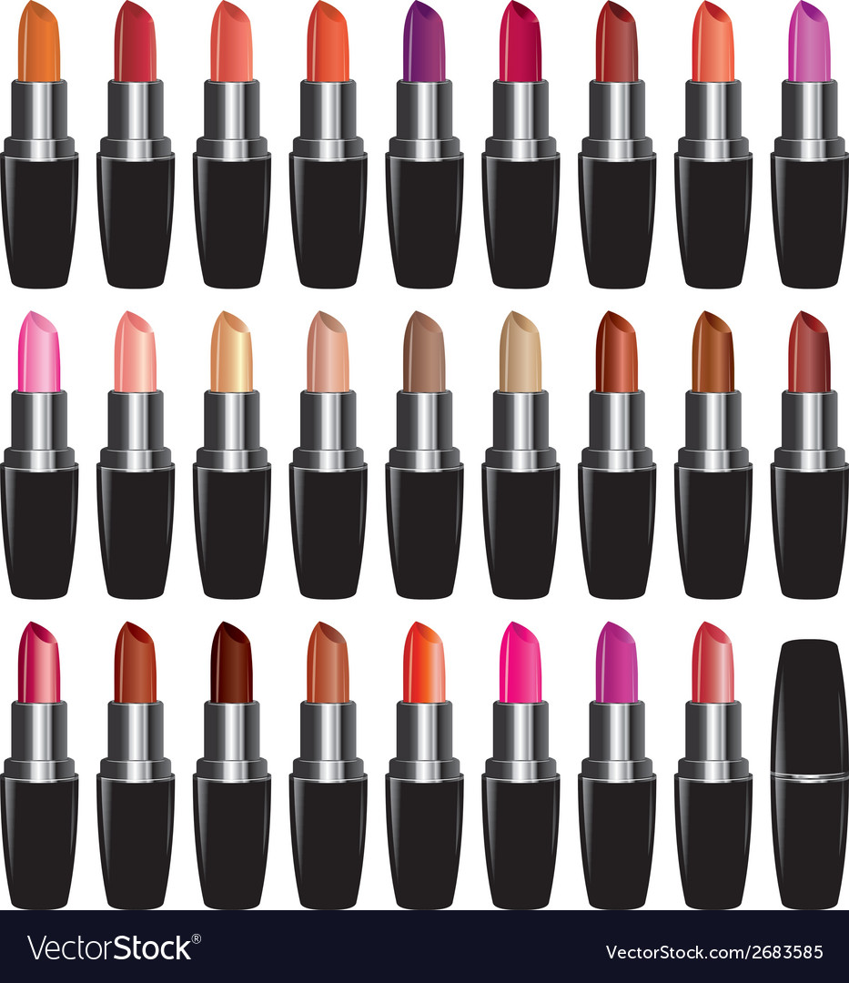 Set lipstick of different colors object on white vector