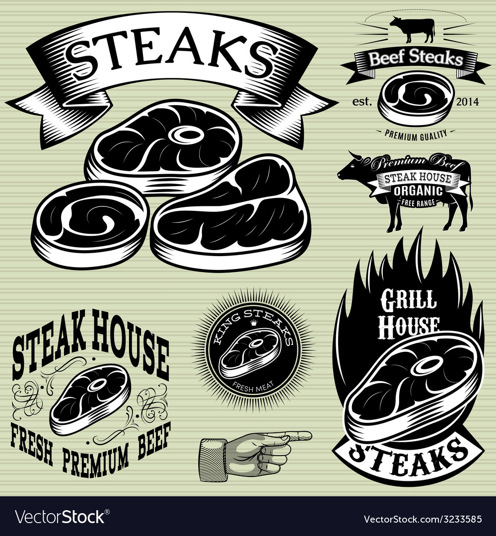 Set template for grilling barbecue steak house men vector | Price: 1 Credit (USD $1)