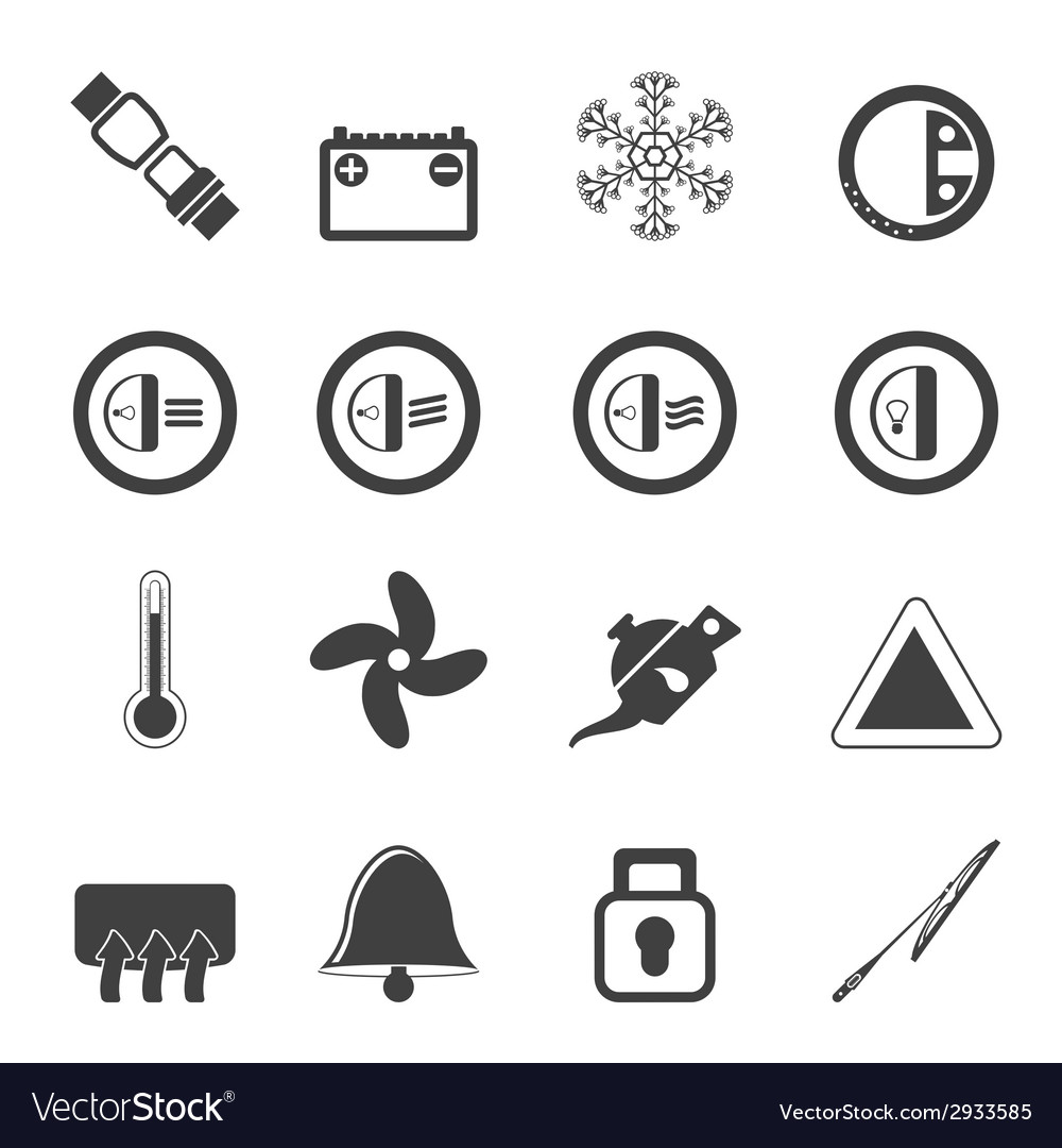 Silhouette car dashboard icons vector | Price: 1 Credit (USD $1)