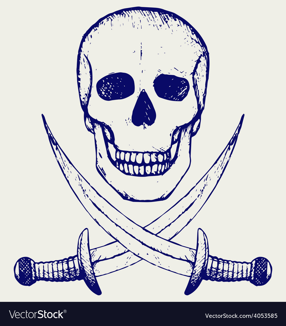 Skull and crossed swords vector | Price: 1 Credit (USD $1)