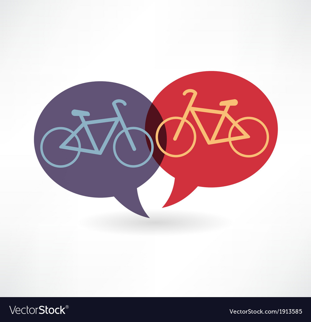 Two flat speech bubble icon with bicycles vector | Price: 1 Credit (USD $1)
