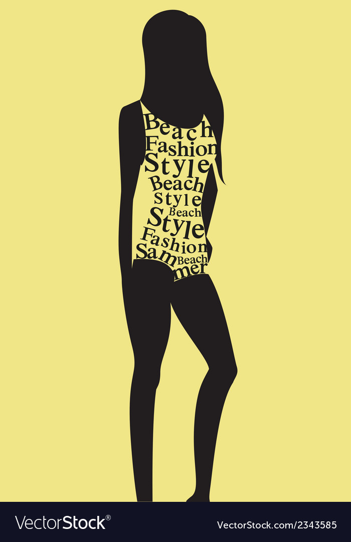 Woman in swimsuit from words vector | Price: 1 Credit (USD $1)