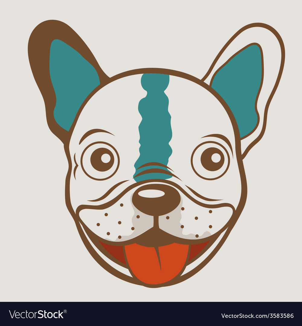 French bulldog funny face vector