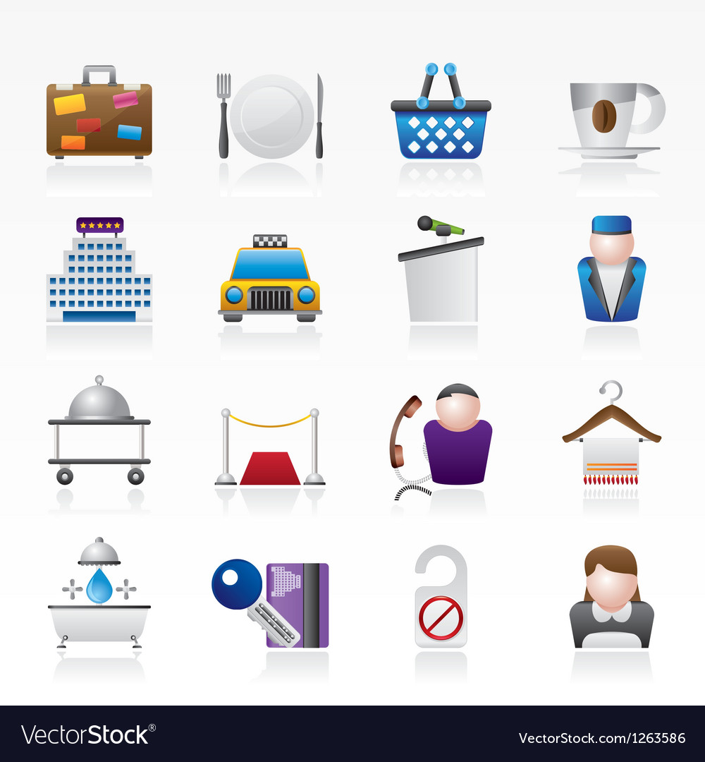 Hotel and motel services icons vector | Price: 3 Credit (USD $3)