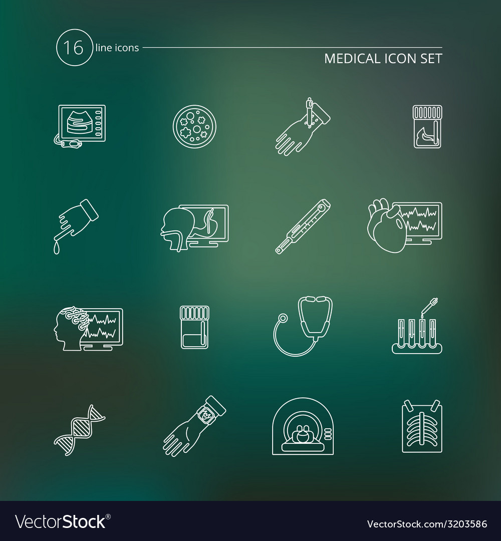 Medical tests icons outline vector | Price: 1 Credit (USD $1)