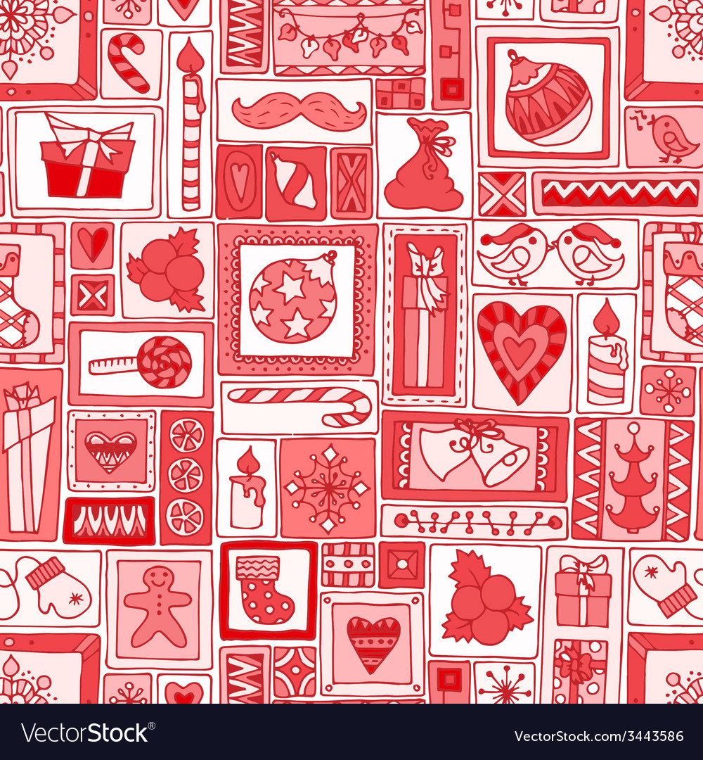 Red seamless christmas and new year pattern vector | Price: 1 Credit (USD $1)
