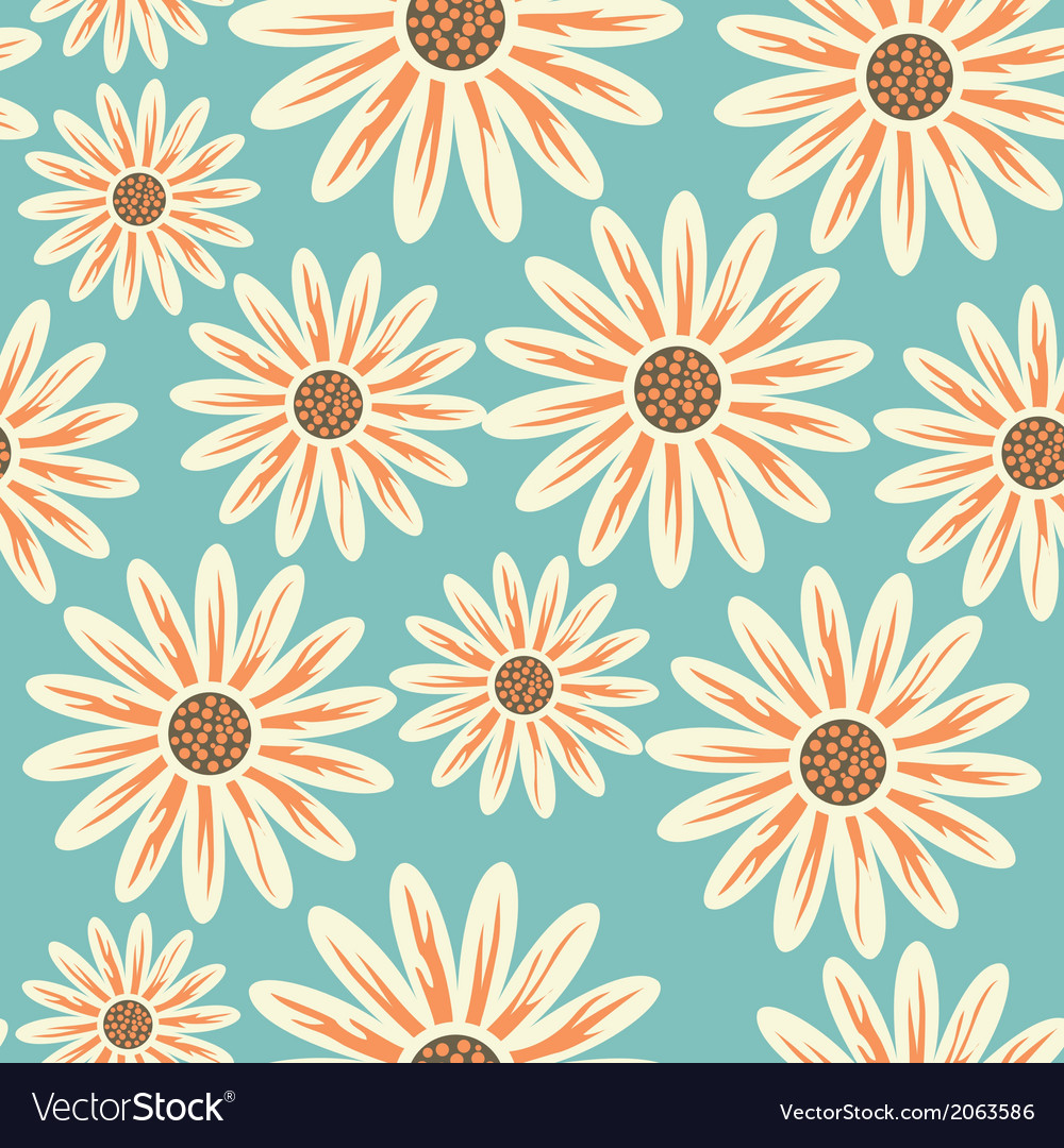 Seamless floral pattern flowers texture daisy vector | Price: 1 Credit (USD $1)