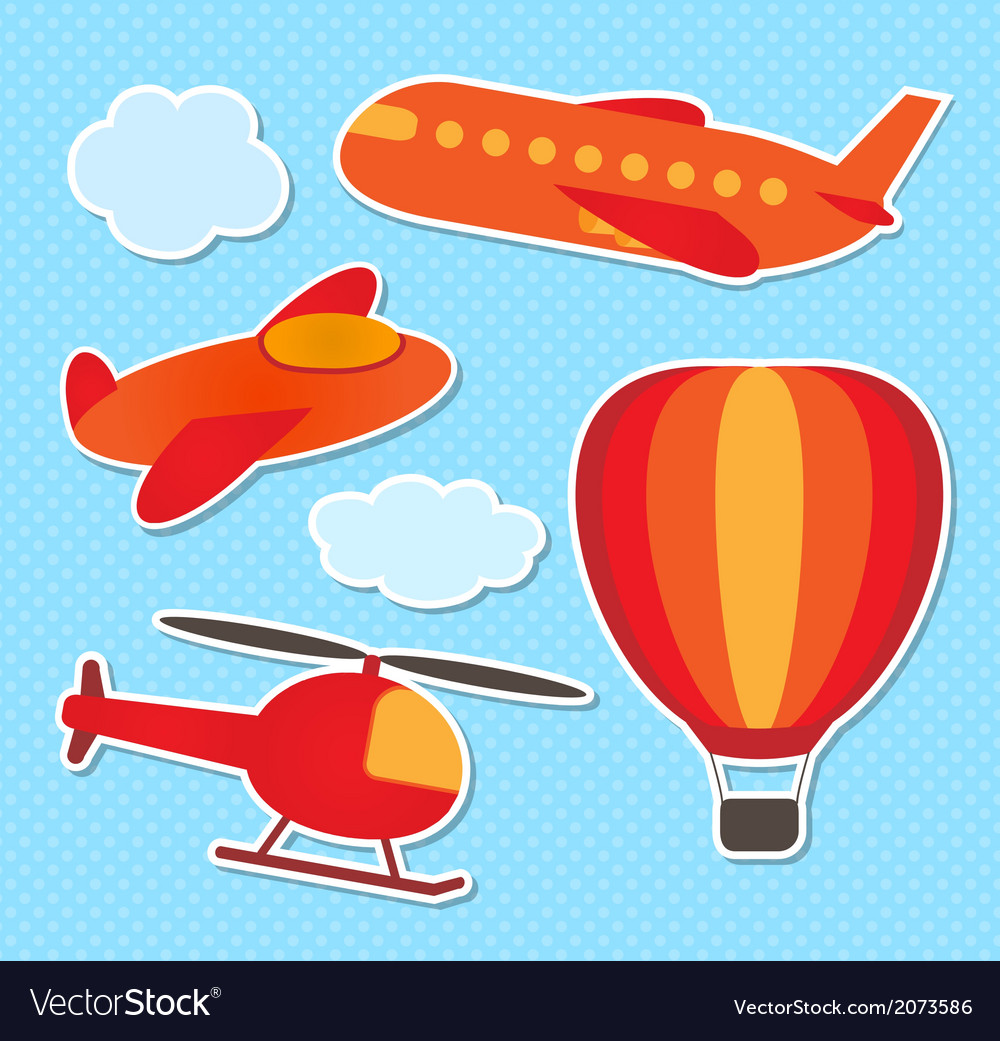 Set of cute colorful aircraft stickers vector | Price: 1 Credit (USD $1)