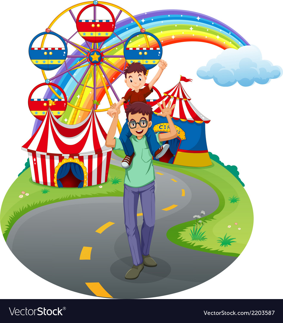 A boy and his father at the amusement park vector | Price: 3 Credit (USD $3)