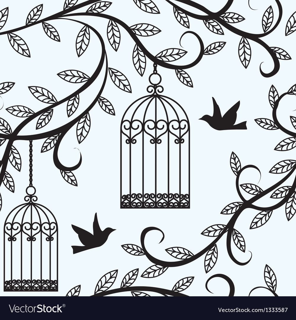 Birds flying and cage vector | Price: 1 Credit (USD $1)