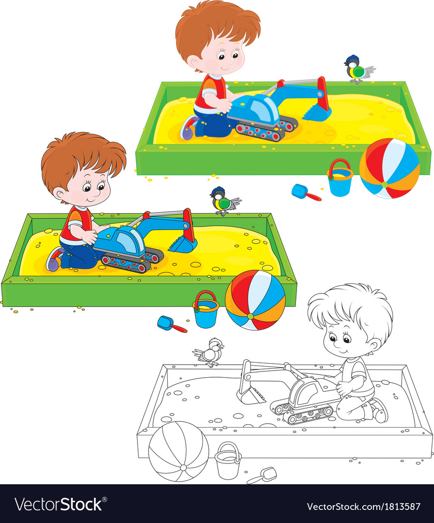 Boy plays in a sandbox vector | Price: 1 Credit (USD $1)