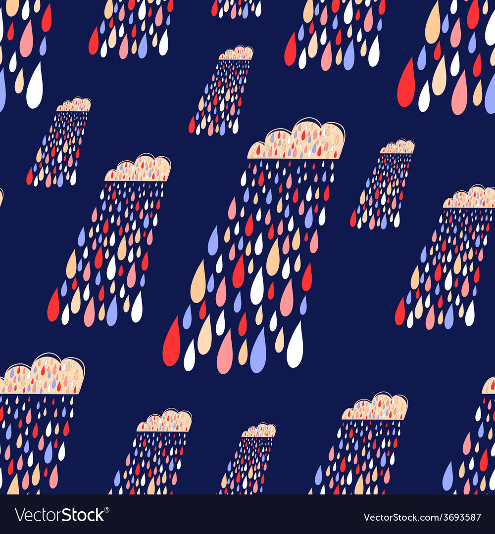 Cute seamless pattern with colorful rainy vector | Price: 1 Credit (USD $1)