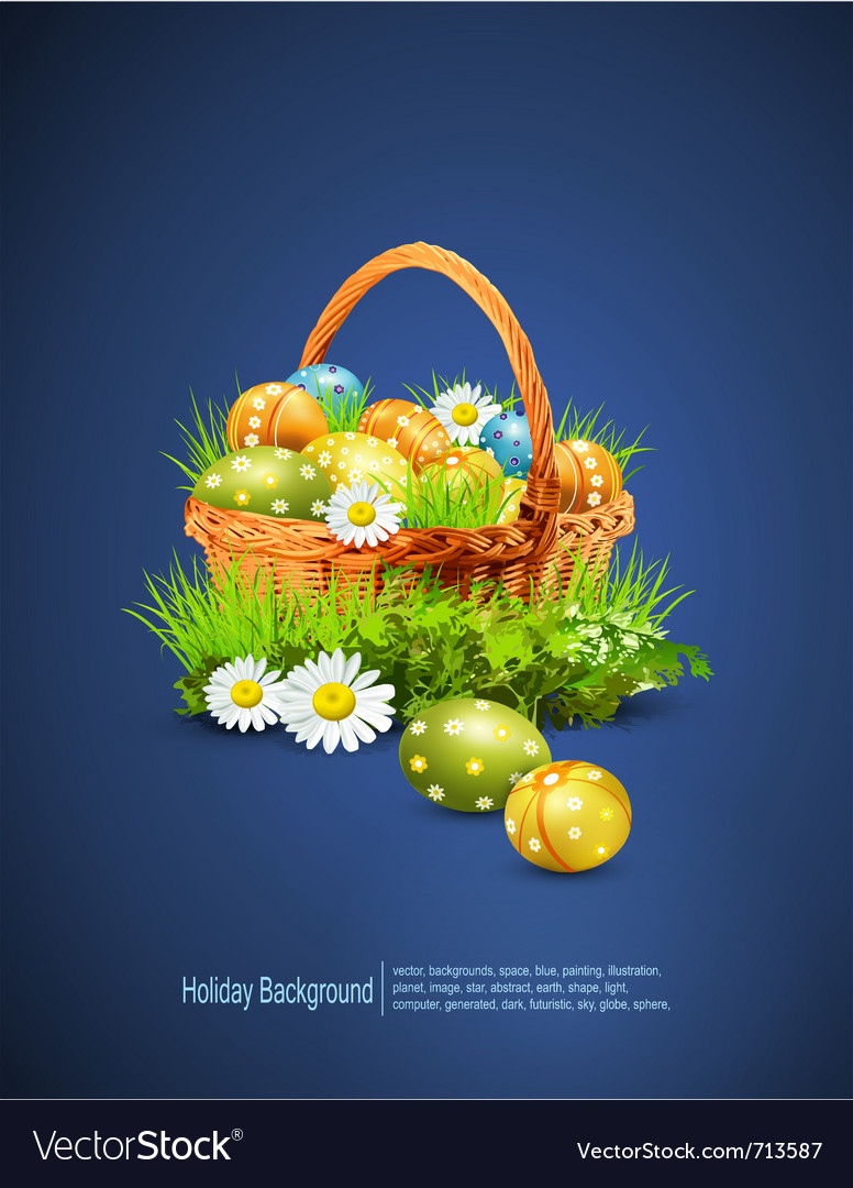 Easter eggs basket vector | Price: 1 Credit (USD $1)