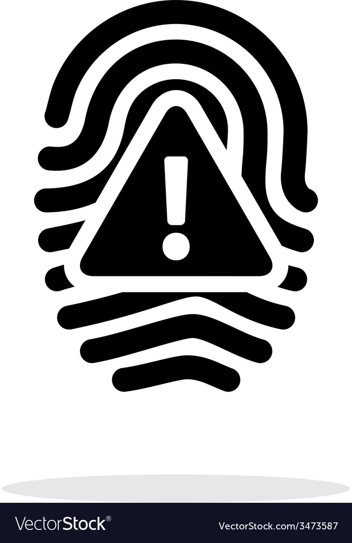 Fingerprint scan error icon on white background vector | Price: 1 Credit (USD $1)