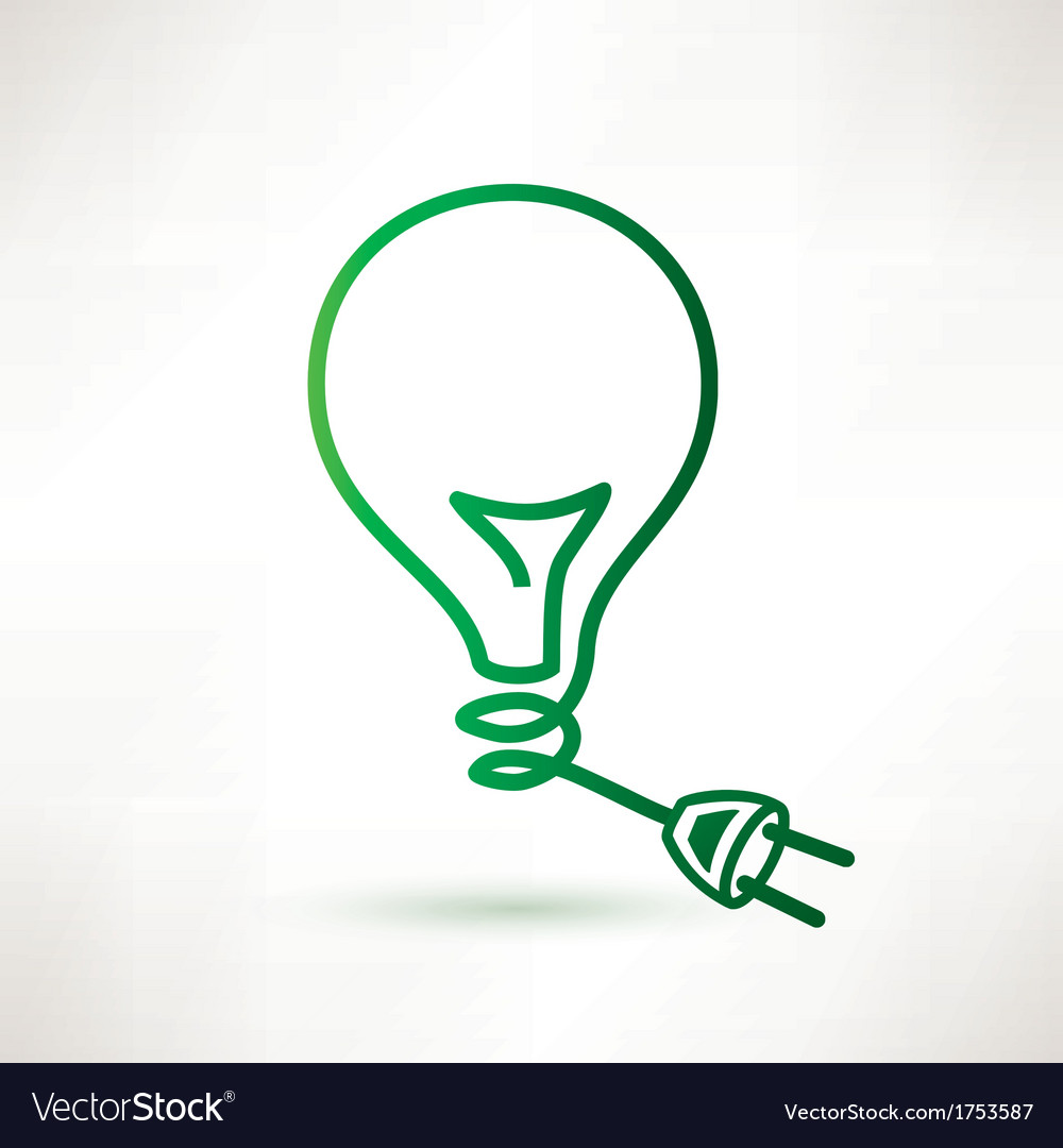 Green bulb with plug abstract icon vector | Price: 1 Credit (USD $1)