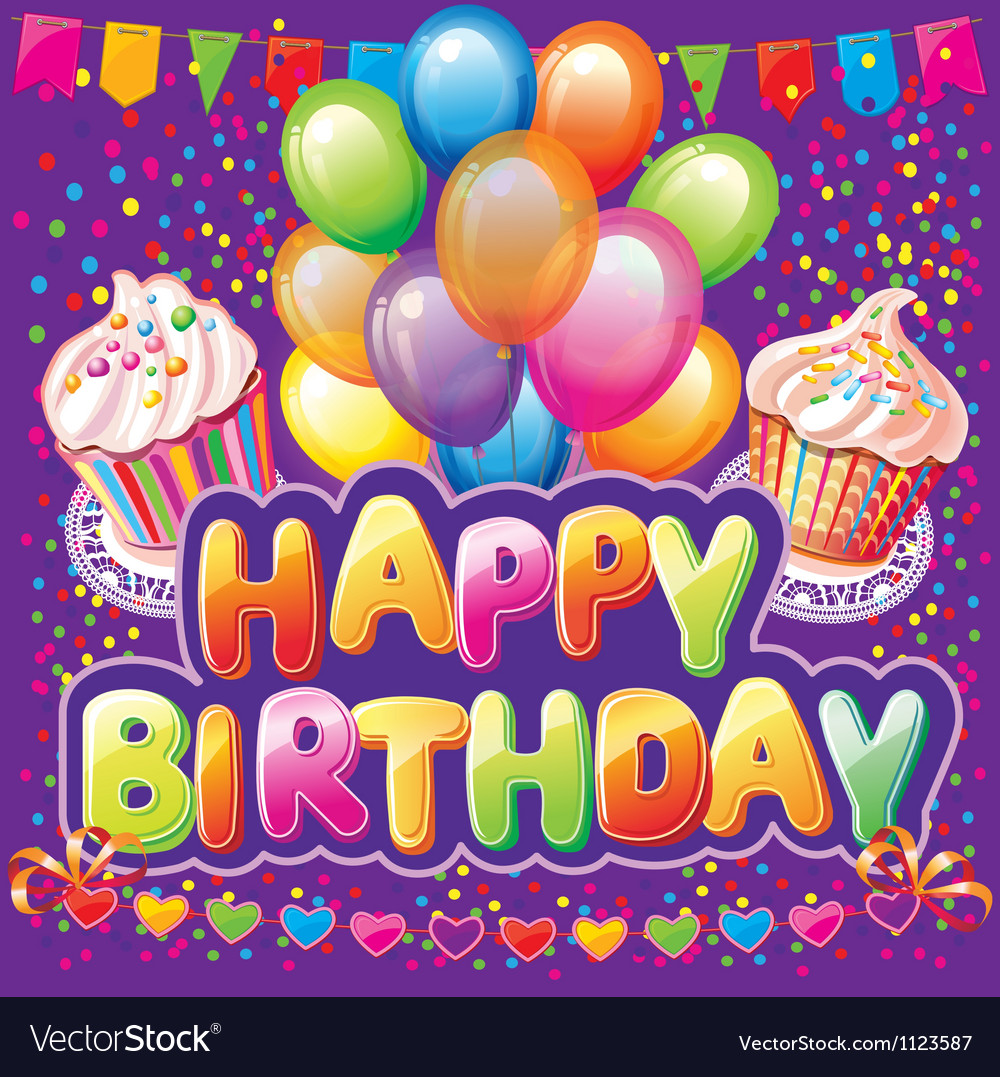 Happy birthday text on background with party eleme vector | Price: 1 Credit (USD $1)