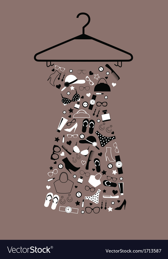 Woman dress from accessories vector | Price: 1 Credit (USD $1)