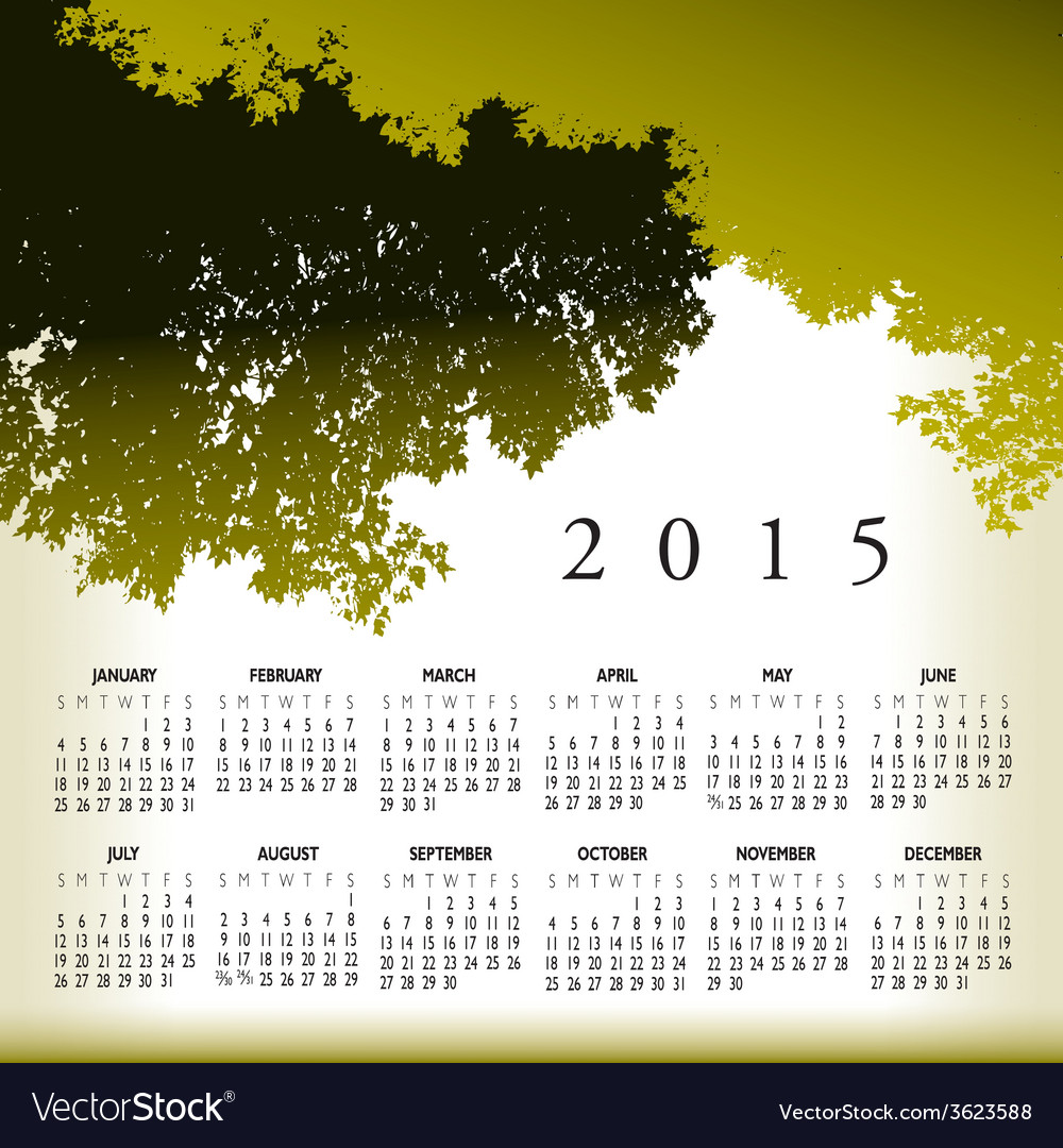 2015 cal tree landscape vector | Price: 1 Credit (USD $1)