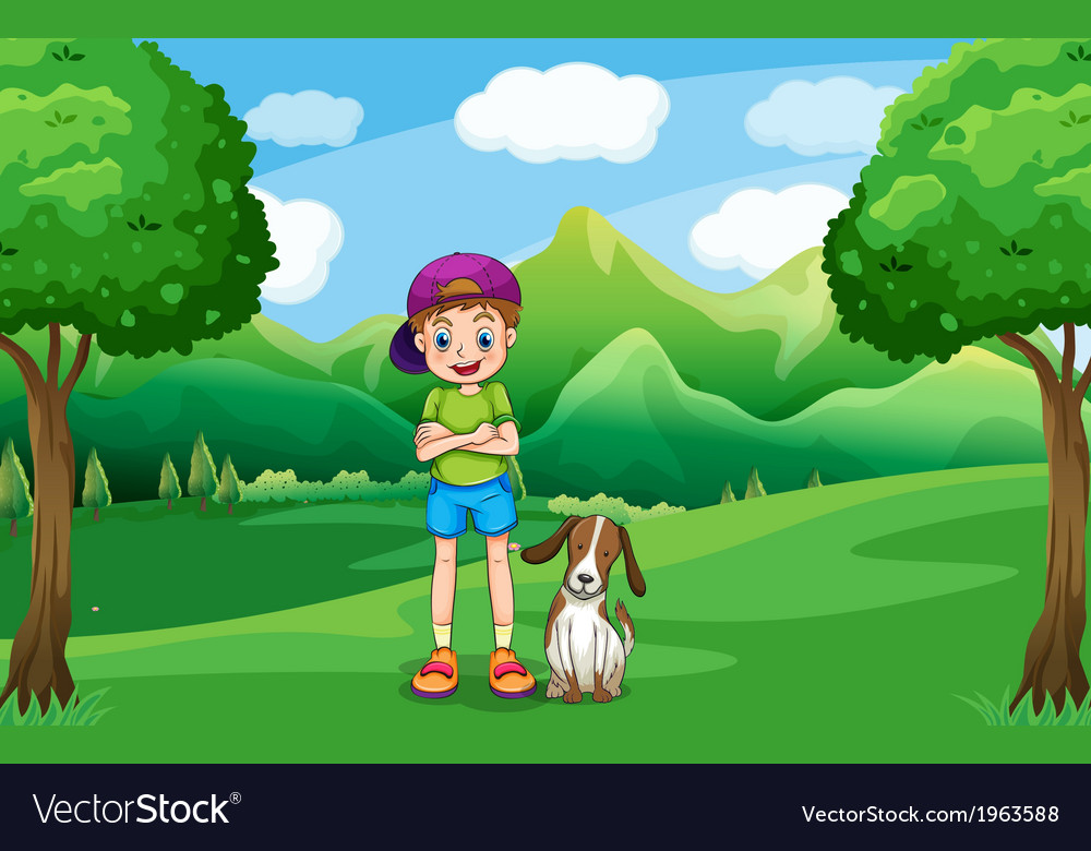 A young boy standing in the middle of the trees vector | Price: 3 Credit (USD $3)