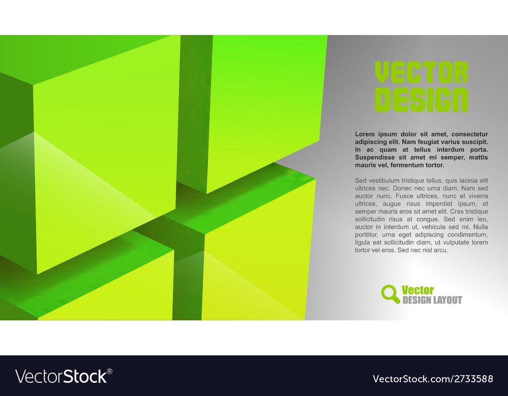 Cube layout green vector | Price: 1 Credit (USD $1)
