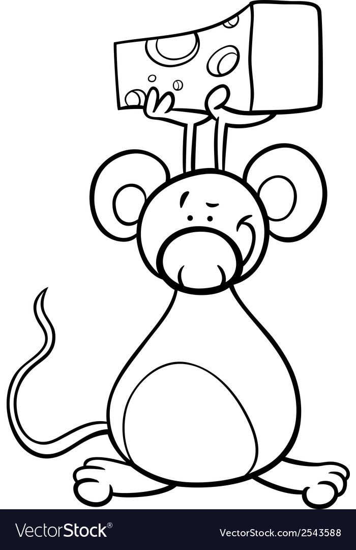 Cute mouse with cheese coloring page vector | Price: 1 Credit (USD $1)